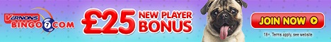 vernons bingo new player £25 offer